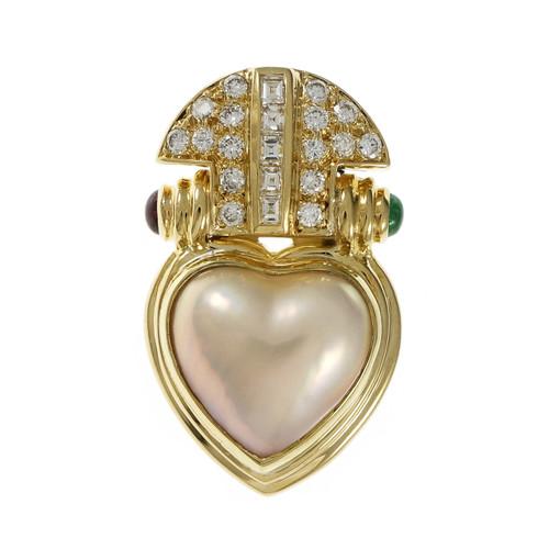 Olsen Designer Pendant Enhancer 18k Yellow Gold Mobe Pearl Ruby Emerald Diamond