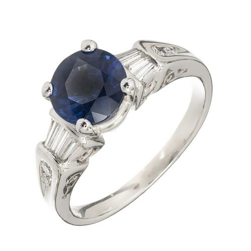 Bright Cornflower Blue Round Sapphire Diamond Engagement Ring Platinum