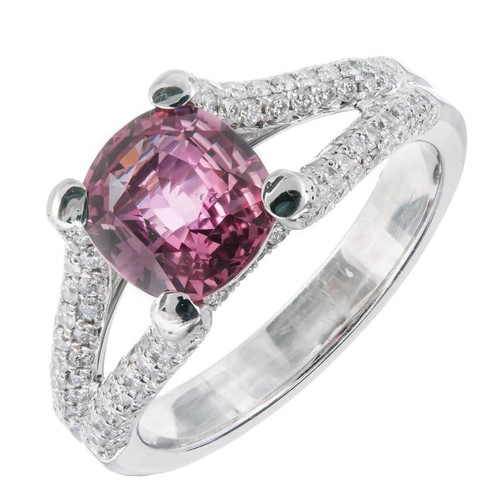 Peter Suchy Antique Cushion GIA natural Padparadscha Sapphire Engagement Ring