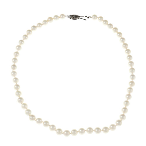 Fine White Japanese Cultured Pearl Necklace 14k White Gold Catch 6.5 – 7mm