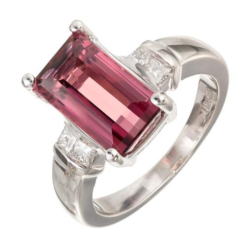Vintage 3.85ct Gem Natural Pink Tourmaline Emerald Cut 14k White Gold LAB Ring