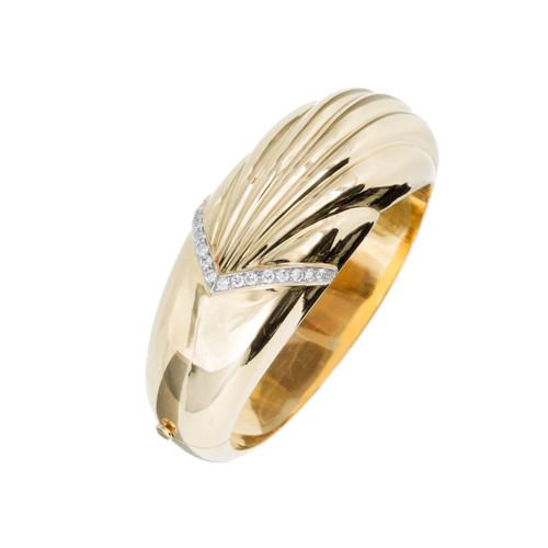 Vintage 1960 Bangle Bracelet Diamond 18k Yellow Gold