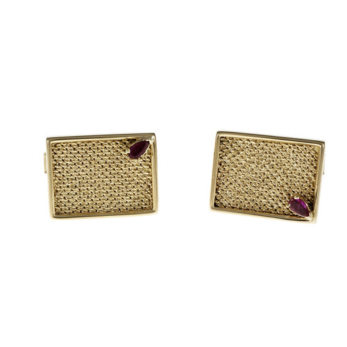 Vintage 1960 Rectangular Textured Cufflinks 14k Yellow Gold Ruby Accents