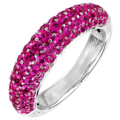 2.00 Carat Pink Sapphire Domed White Gold Band Cluster Ring