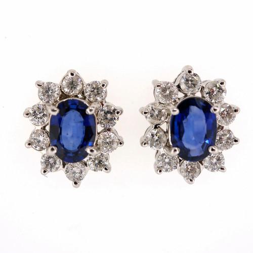 Estate Rare Cornflower Blue 1.60ct Oval Sapphire 14k White Gold Diamond Earrings