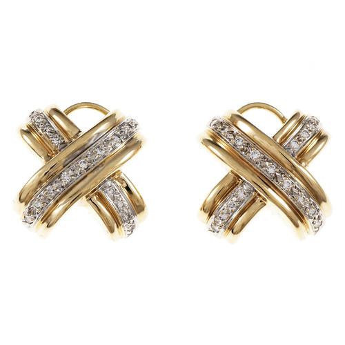 "Estate ""X"" Design Diamond Earrings 14k Yellow White Gold Clip Post"