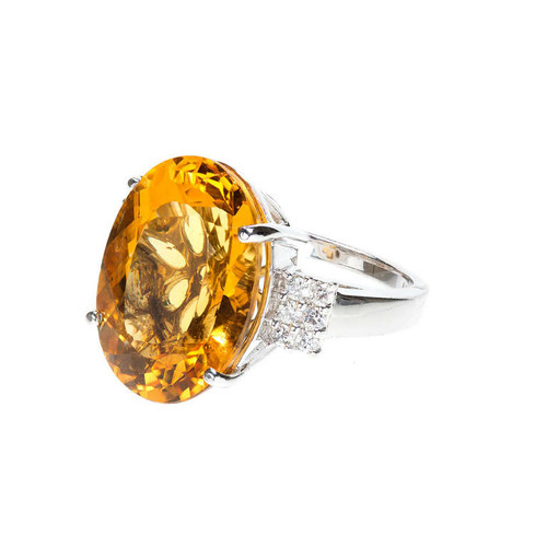Vintage 1970 Bright Golden Yellow Beryl 18.00ct Ring LAB 14k White Gold
