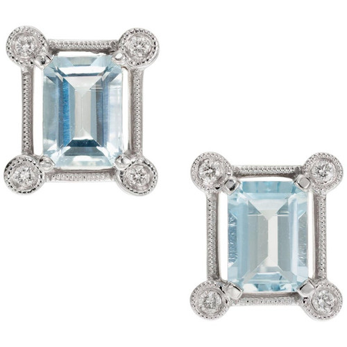 1.80 Carat Aquamarine Diamond White Gold Earrings