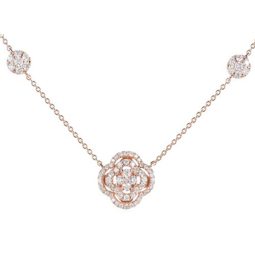 Diamond Cluster Pendant 14k Rose Gold