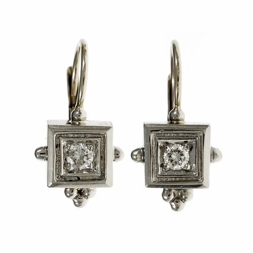 Estate Etruscan Style Diamond Earrings 14k White Gold