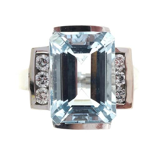 Vintage 7.25ct Natural Aqua Ring Semi Bezel Set LAB Diamond Ring
