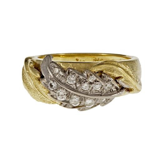 Vintage Spitzer & Furman Diamond Leaf Ring 18k Yellow Gold