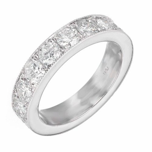 Peter Suchy Vintage Inspired Wedding Band Ring Platinum Diamond 2.20ct