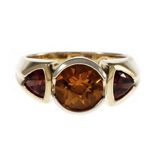 Estate Citrine Garnet Ring 14k Yellow and White Gold