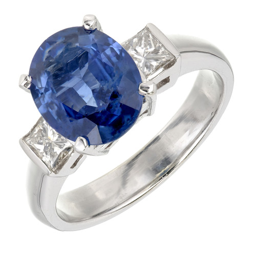 Estate Blue Oval Sapphire Engagement Ring 14k White Gold Princess Cut Diamond