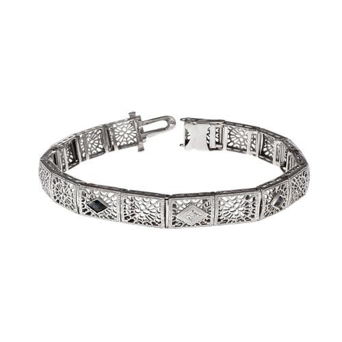 Vintage 1940 Filigree Link Bracelet Calibré Sapphire Diamond