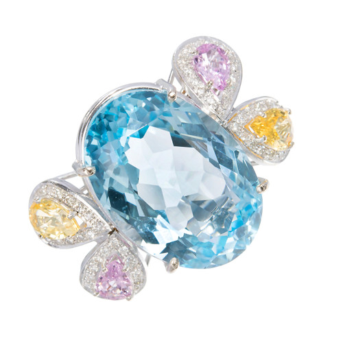 22.00 Carat Topaz Sapphire Diamond Gold Cocktail Ring