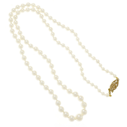 Vintage 1950 Japanese Cultured Pearl Graduated Necklace 14k Yellow Gold