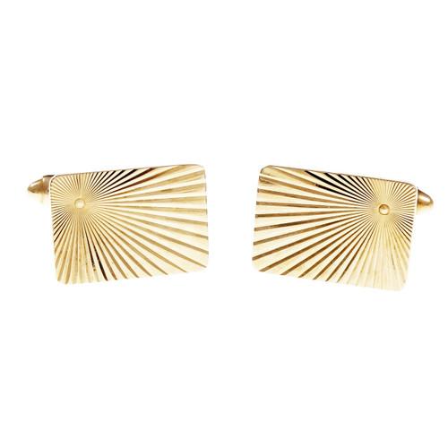 Vintage 1960 Sunburst Design Rectangular Cufflinks 14k Yellow Gold