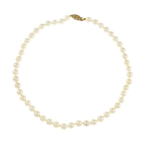 Vintage 1950 Japanese Cultured Pearl Necklace 14k Yellow Gold