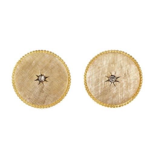 Victorian 1900 Button Style Cufflinks Rose Cut Diamond Yellow Gold