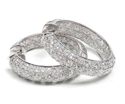 Top Gem Quality 6.61ct Ideal Full Cut Diamond 18k White Gold Hoop Earrings LTJ