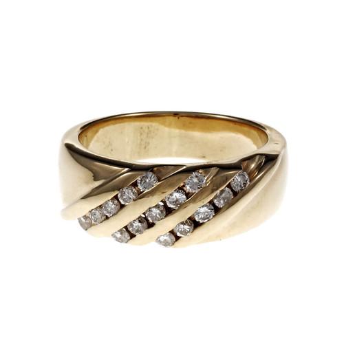 Estate Wide Angle Set Diamond Band Ring 14k Yellow Gold