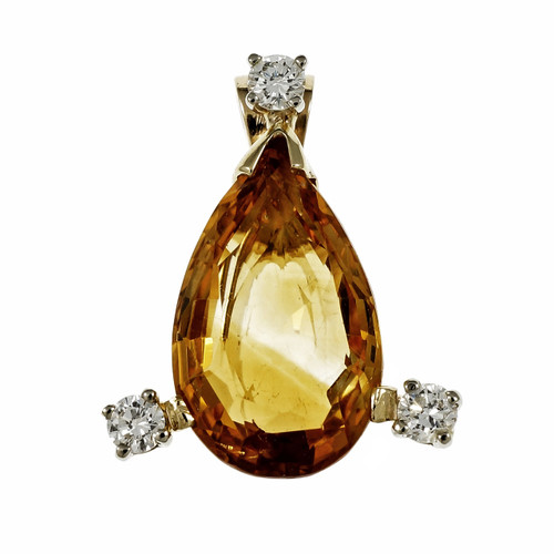 Vintage 1960 Yellow Orange Citrine Pendant 14k Yellow Gold Diamond