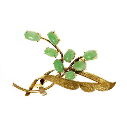 Vintage Natural Jadeite Jade Pin Branch Design 14k Yellow Gold