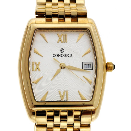 Estate Concord 14k Yellow Gold Men's Watch Mesh Band