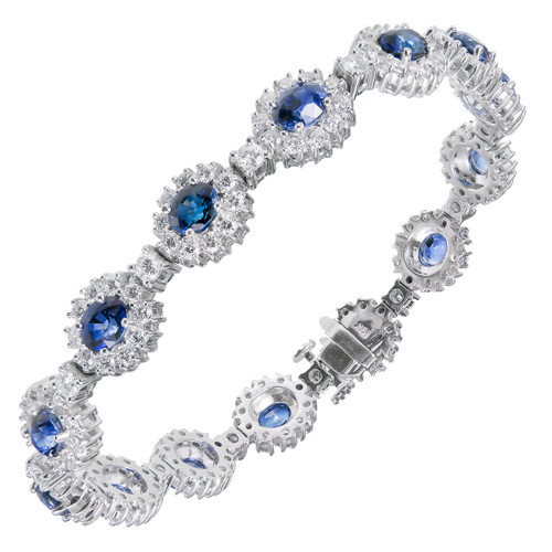 Bright Blue Sapphire Diamond Bracelet 18k White Gold