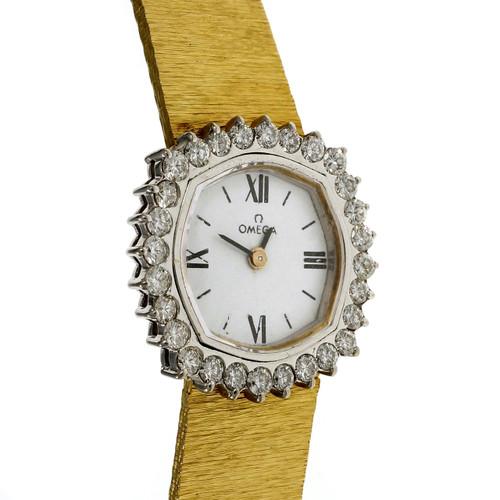 Omega Ladies Watch Diamond Bezel White Dial 18k Yellow Gold