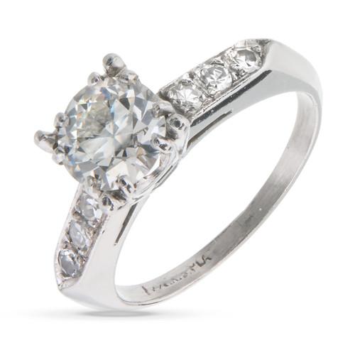 Vintage Transitional Cut Diamond Engagement Ring Platinum