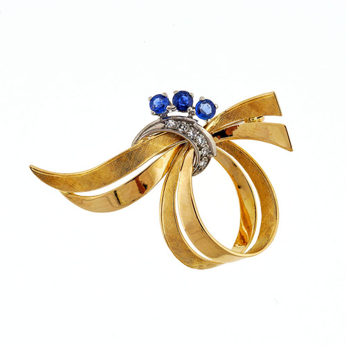 1960 Vintage Swirl Pin 18k Yellow & White Gold Sapphire Diamond