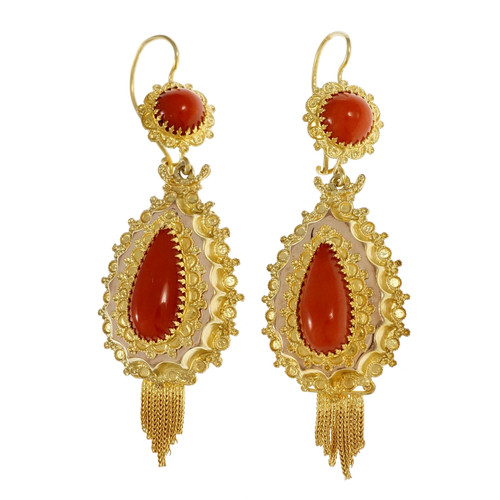 Victorian 1900 Natural Orange Coral Dangle Earrings 14k Yellow Gold