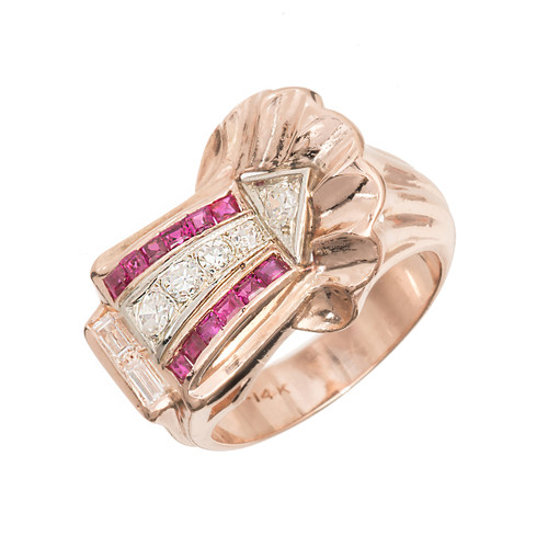 Vintage 1935 Ruby Diamond Ring Arrow Design 14k Pink Gold