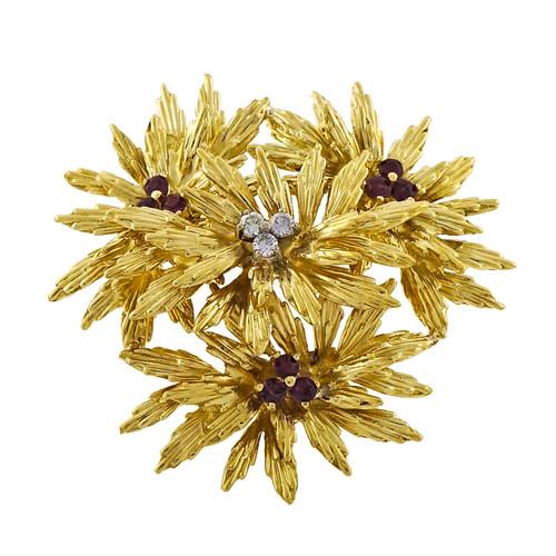 1960 Vintage Tiffany & Co .60ct Ruby & Diamond Pin