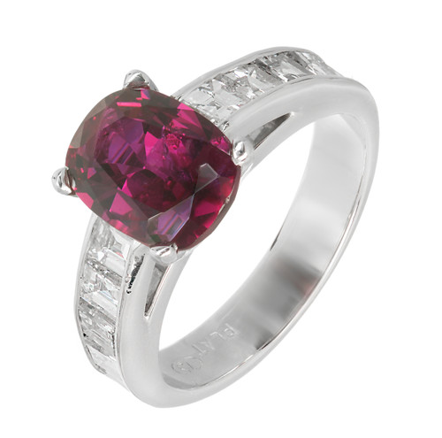 Peter Suchy GIA Natural Cushion Ruby Engagement Ring Platinum Diamond