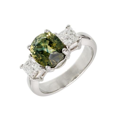 Peter Suchy GIA Natural Yellow Green Sapphire Engagement Ring Platinum Diamond