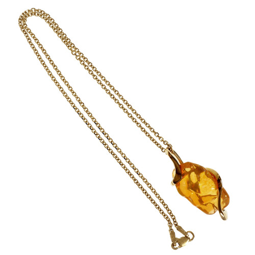 Crystal Fire Freeform Opal Pendant High Quality 14k Yellow Gold