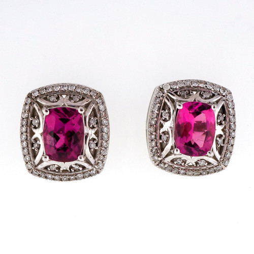 Cushion Pink Tourmaline 2.40ct 14k White Gold Diamond Earrings
