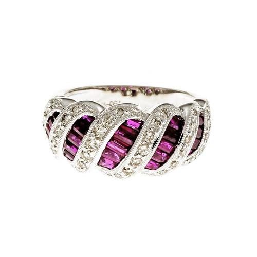 Swirl Baguette Ruby Diamond Ring 18k White Gold