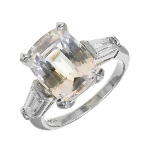 Vintage 1940 Rare Sapphire Engagement Ring Pink & Orangey Yellow Platinum Diamond