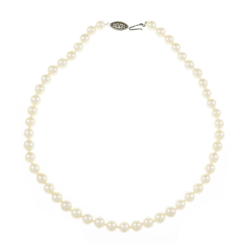 Estate 8mm – 8.5mm Cultured Pearl Necklace 14k White Gold Clasp