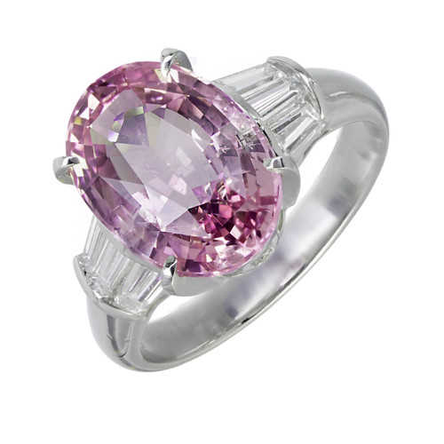 Vintage Purplish Pink Natural Sapphire Engagement Ring Rare Platinum Diamond
