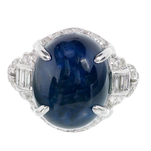 1920s Art Deco 12.13ct Cabochon Royal Dark Blue Sapphire Platinum Diamond Ring