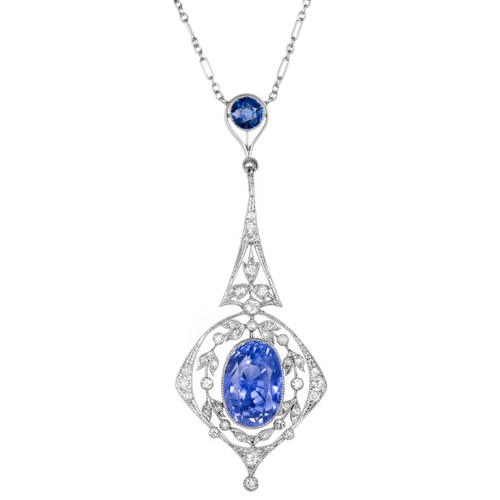 9.25 Carat Edwardian Sapphire Diamond Platinum Pendant Necklace