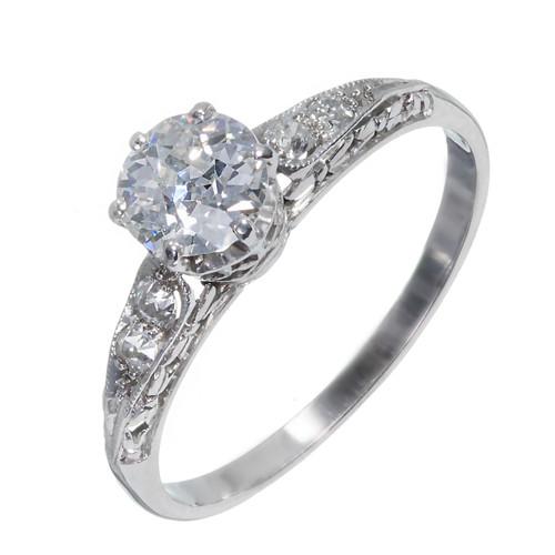 Antique Platinum Filigree Engagement Ring Old European Cut Diamond GIA Certified