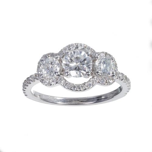 Three Stone Diamond Halo Engagement Ring 14k White Gold