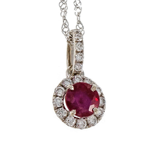 Round Bright Red Ruby Halo Diamond Pendant 14k Yellow Gold